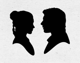 Han Solo and Princess Leia, Star Wars Silhouette SVG Cutting File, Printable, T-shirt Design, Scrapbooking Clipart