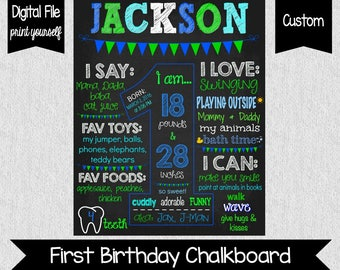 Boy's First Birthday Chalkboard Sign - DIGITAL - Printable - Green and Blue - First Birthday Sign - First Birthday Sign - Blue 1st Birthday