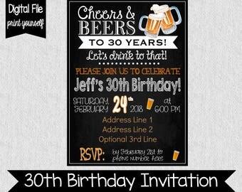 30th Birthday Party Invitation  - Any Age - Digital - Adult Birthday Invitation - Cheers & Beers - Cheers to 30 Years - Dirty 30 - 30th
