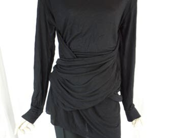 """vintage UNISEX avant garde deconstructed draped +wrapped black top long sleeve T / oversized fabric """"wings""""/androgynous: size M mens"""