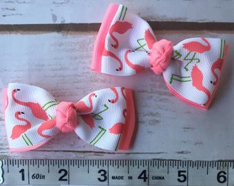 Flamingo Pigtail bow set