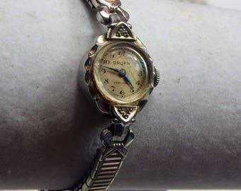 vintage mid century Gruen womans watch, 14k white gold finish