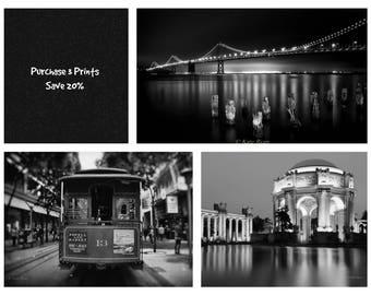 San Francisco Prints, Set of 3 Black and White Prints, Modern Urban Wall Art Set, Urban Photo Print, Industrial Wall Art, Cable Car Print,