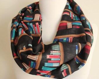 Bookshelf Scarf, Library Print Scarf, Long Shawl Scarf, men's, book scarf, women, Librarian Scarf, Geek, Book Lover Gift Ideas, Book Print