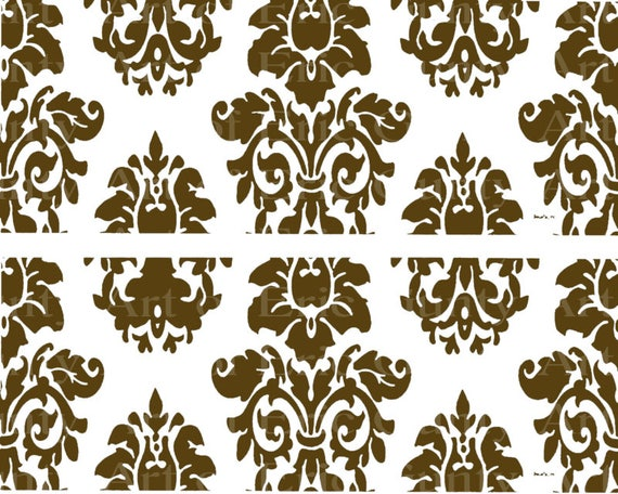 Brown Damask Birthday - Edible Cake Side Toppers- Decorate The Sides of Your Cake! - D22849