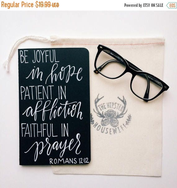 ON SALE Personalized prayer journal, scripture gift, Romans 12:12, be joyful in hope