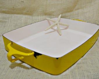 1970s Dansk Kobenstyle yellow Roasting Pan  / Dansk Designs France