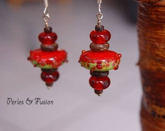 Glass earrings * red coconut * red/green tones - nature - Lampwork Glass