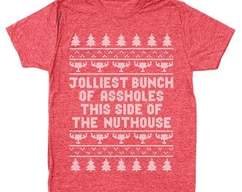 Jolliest Bunch Of Aholes Funny Christmas Vacation Movie Griswold Men's Tri-Blend T-Shirt DT1641