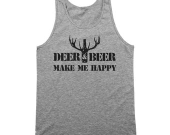 Deer And Beer Make Me Happy Funny Hunting Drinking Tank Top DT2193