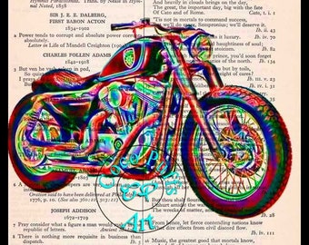 Sportster Custom 1200 Geeky Art - Vintage Dictionary Book Page Art Upcycled Page Art Collage Art Motorcycle Print