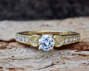 Art deco Engagement Ring-Heart engagement ring-Diamond heart ring-Gold Ring -1/2 carat solitaire diamond ring -Promise ring-ON SALE!!
