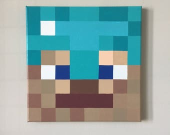 "Minecraft Inspired ""Diamond Armor Steve"" Wall Decor Hand Painted"