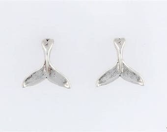 Sterling Silver Whale Fluke Choice - Charm, Post, Dangle Earrings