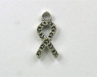 Sterling Silver Paw Print Ribbon Charm