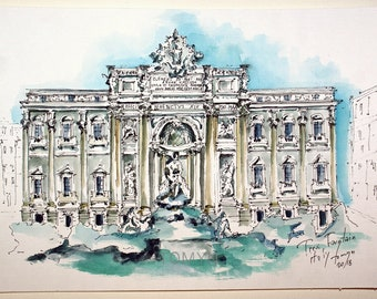 ITALY. Trevi FOUNTAIN. ROME Painting. Original Italy Art.