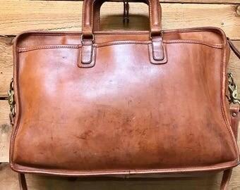Vintage Coach Briefcase Messenger Bag Vtg Light Brown Leather Laptop Folio Bag Made in USA