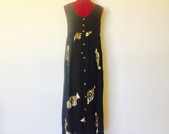 80s Maxi Dress Halter Top Black Tan Fish Rayon Wooden Buttons Size S M