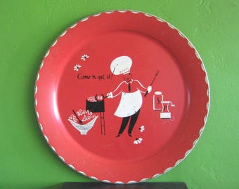 Come 'n Get It Vintage Red Tin Tray; Large Midcentury/Mad Men Barbecue/Picnic/Drinks/Pool Party Tray; Retro Red Serving/Wall Decor Tray