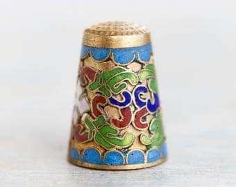 Cloisonne Thimble - Brass and Colorful Enamels