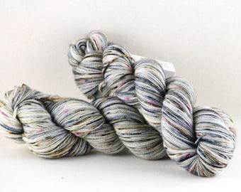 "Hand dyed yarn,  80 / 10 / 10%  Super wash Merino / Cashmere / Nylon, sock yarn, 400 yards, ""Blue Heron"""