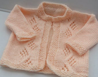Peach Blossom Baby Cardigan/6 Month Size/Baby Shower Gift