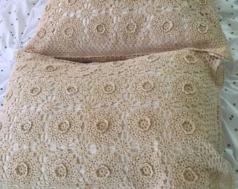 Pair of Vintage Shams, Gorgeous Cream Crochet, Standard Size