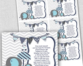 elephant baby shower bring a book cards, elephant baby shower book card, instant download, stock babies library book cards, navy blue gray