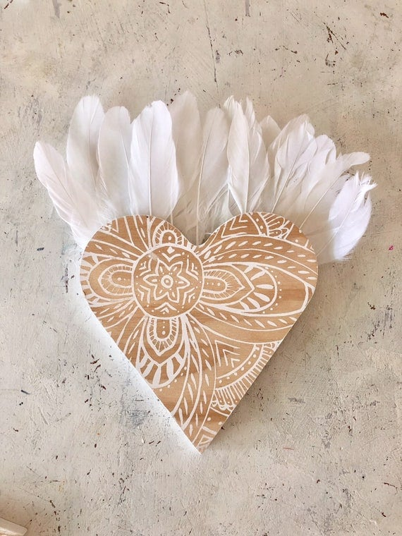 Valentine's Love Heart with feathers Wall Art, Neutral White Grey  Boho Design,  Timber