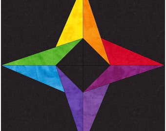 Incredible Rainbow Star 10 Inch Paper Piece Foundation Quilting Block Pattern