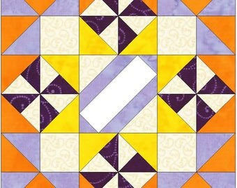 Spinning Fall 10 Inch Paper Piece Foundation Quilting Block Pattern PDF