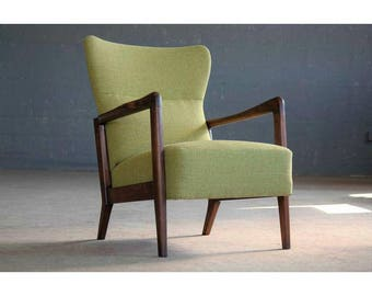 Soren Hansen Low-Back Open Armchair for Fritz Hansen Danish, Midcentury
