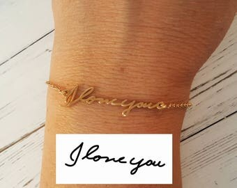Solid 14K Yellow Gold Handwriting Bracelet - Custom made actual handwriting necklace - Gift for her