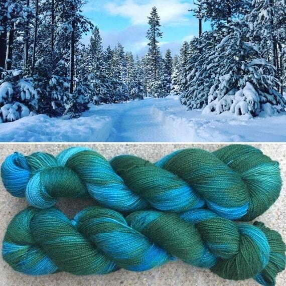 Forest Frost High Twist, winter theme merino nylon sock yarn