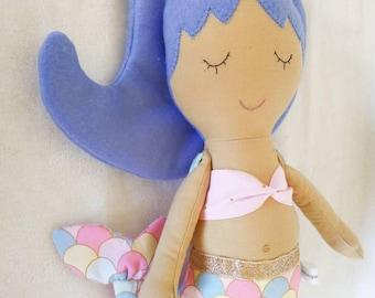 Mermaid - soft fabric and felt doll - cloth doll