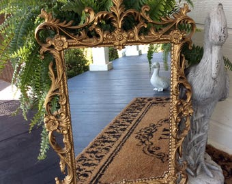 "Reserved for Caitlin Vintage Large 29"", Gold ""Turner"" Mirror, Hollywood Regency, French Country, Cottage, Shabby Chic, Statement Wall Decor"