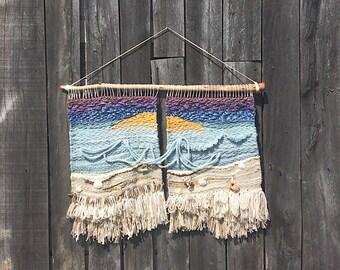Beach Sunset Woven Wall Hanging // Weaving