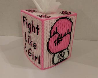 Fight Like A Girl Breast Cancer Awareness Tissue Box Cover