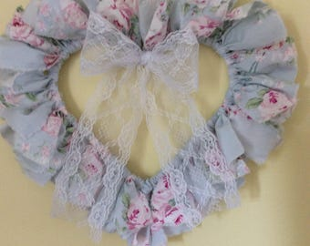 RA Pale Blue w/ Pink Rose fabric w/ white lace bow accent wreath