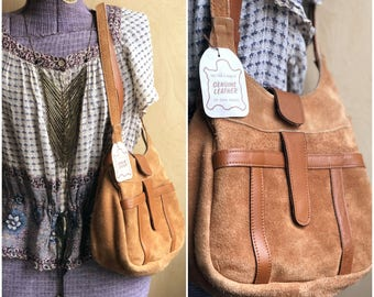 70s Boho Bag / Deadstock NOS Purse / Brown Suede Vintage Shoulder Bag w/ Original Tag