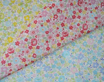 "Bundle of 1/8 Japan Tiny Floral Fabric in 3 Colorways. Approx. 9"" x 22""  Made in Japan"