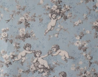 "Half Yard of Yuwa Victorian Cherubs Floral on Blue Background. Approx. 18"" x 42"" Made in Japan."