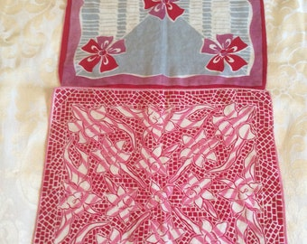 Set of Two Vintage Deep Pink Floral Handkerchiefs/Pink Red