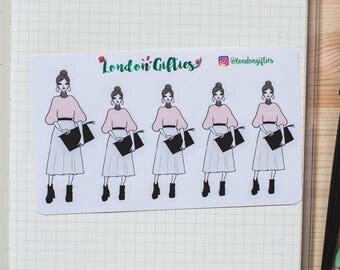 Cute purse girl - decorative sketch fashion girl planner stickers -462-
