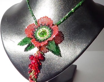 Decoration on the neck. Flower poppies. From small Japanese beads delica. A gift for a holiday.