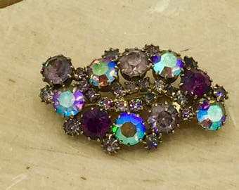 Vintage Gold Tone Purple Stone Brooch Pin