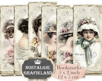 Ladies Bookmarks Vintage Lady Paper Old Photos printable Instant Download digital collage sheet E047