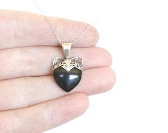 c1960s Sterling Onyx Heart Pendant Chain