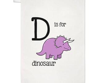 Letter D Is For Dinosaur Tea Towel Dish Cloth