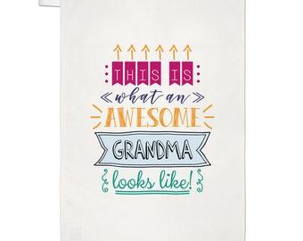 This Is What An Awesome Grandma Looks Like Tea Towel Dish Cloth